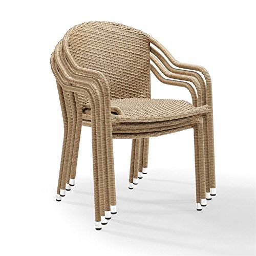 Crosley Furniture CO7109-LB Palm Harbor Outdoor Wicker Stackable Chairs (Set of 4) - Light Brown