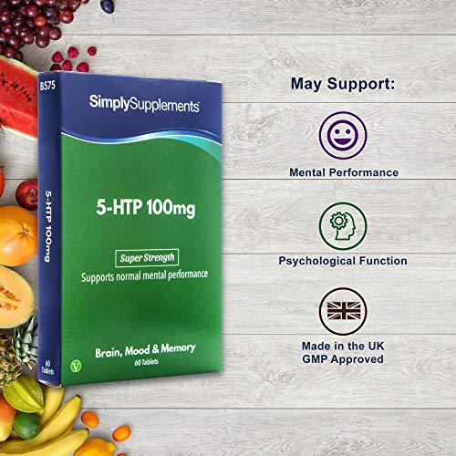 5-HTP Triptófano 100 mg - ¡Bote para 2 meses! - Apto para veganos - 60 comprimidos - SimplySupplements: Amazon.es: Salud y cuidado personal