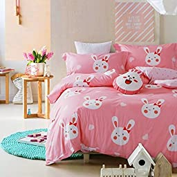 2 Piece Girls Light Pink White Bunny Rabbit Duvet Cover Twin Set, Cute Adorable All Over Bunnie Rabbits Animal Heart Bedding, Fun Girly Multi Bow Hare Bunnies Hearts Themed Pattern, Cotton