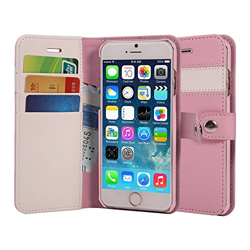 AceAbove iPhone 6S Wallet Case, Premium PU Leather Wallet Cover with [Card Slots] & [Stand] Function for Apple iPhone 6 (2014)/iPhone 6S (2015) – Pink by AceAbove