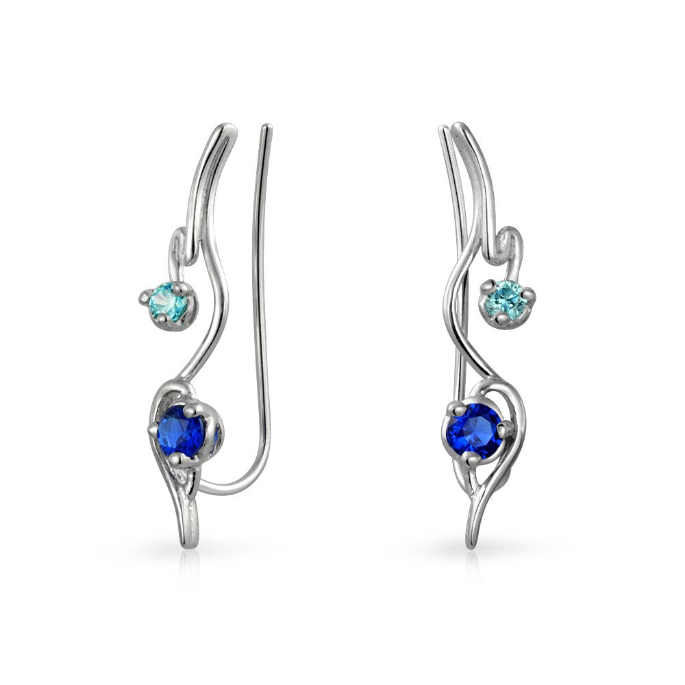 .925 Sterling Silver Modern Ear Pins Simulated Sapphire CZ