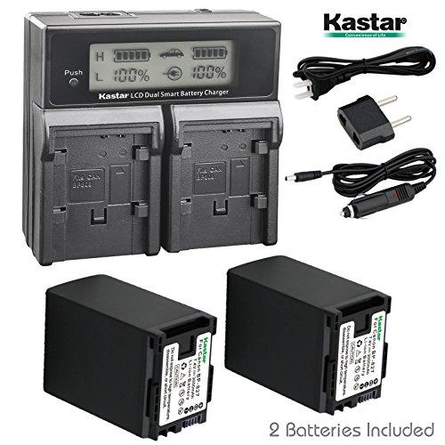 Kastar LCD Dual Fast Charger & 2 x Battery for Canon BP-827 and VIXIA HF G10, G20, M30, M31, M32, M40, M41, S10, S11, S20, S21, S30, S100, S200, HF20, HF21, HF100, HF100, HF200, HG20, HG21, XA10