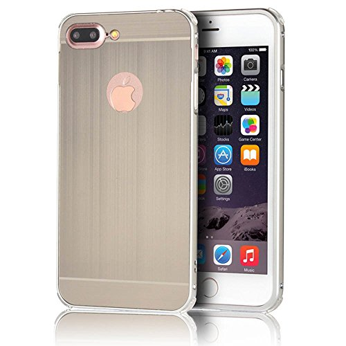 iphone 7 Plus 5.5 Funda - Sunroyal Mirror Oro Dorado Metal Frame Aluminum Marco + PC Espalda Carcasa Bumper Parachoques Espejo Bumper Case Cover Ultra Delgado Slim High Quality Chic Stylish [Resisten A-Gris
