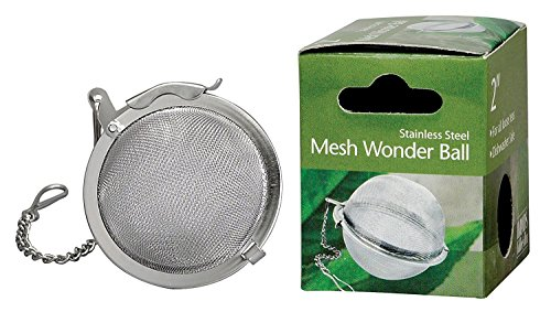 HIC Loose Leaf Tea Infuser Strainer and Herbal Infuser, 18/8 Stainless Steel, Mesh Tea Ball, (Steel Mesh Tea Infuser)