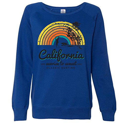 California Classic Sunrise Surfing Ladies Lightweight Fitted Crewneck - Cobalt X-Large