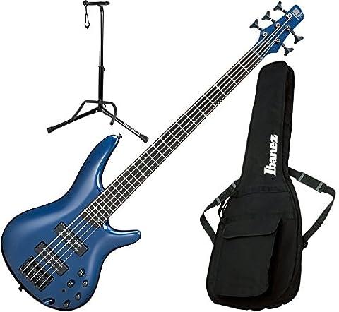 Ibanez SR305EBNM 5 String Navy Metallic Electric Bass Guitar with Gig Bag and Stand (Bass Gig Bag Ibanez)