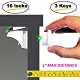Eco-Baby Magnetic Cabinet Locks Child Safety for Drawers and Cabinets - Kitchen Child Proof Cabinet Locks - Baby Proofing Safety (16 Locks & 3 Keys)