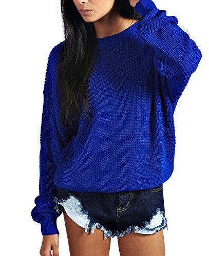 Jersey extra ancho para mujer, de punto, tallas S-XL azul real