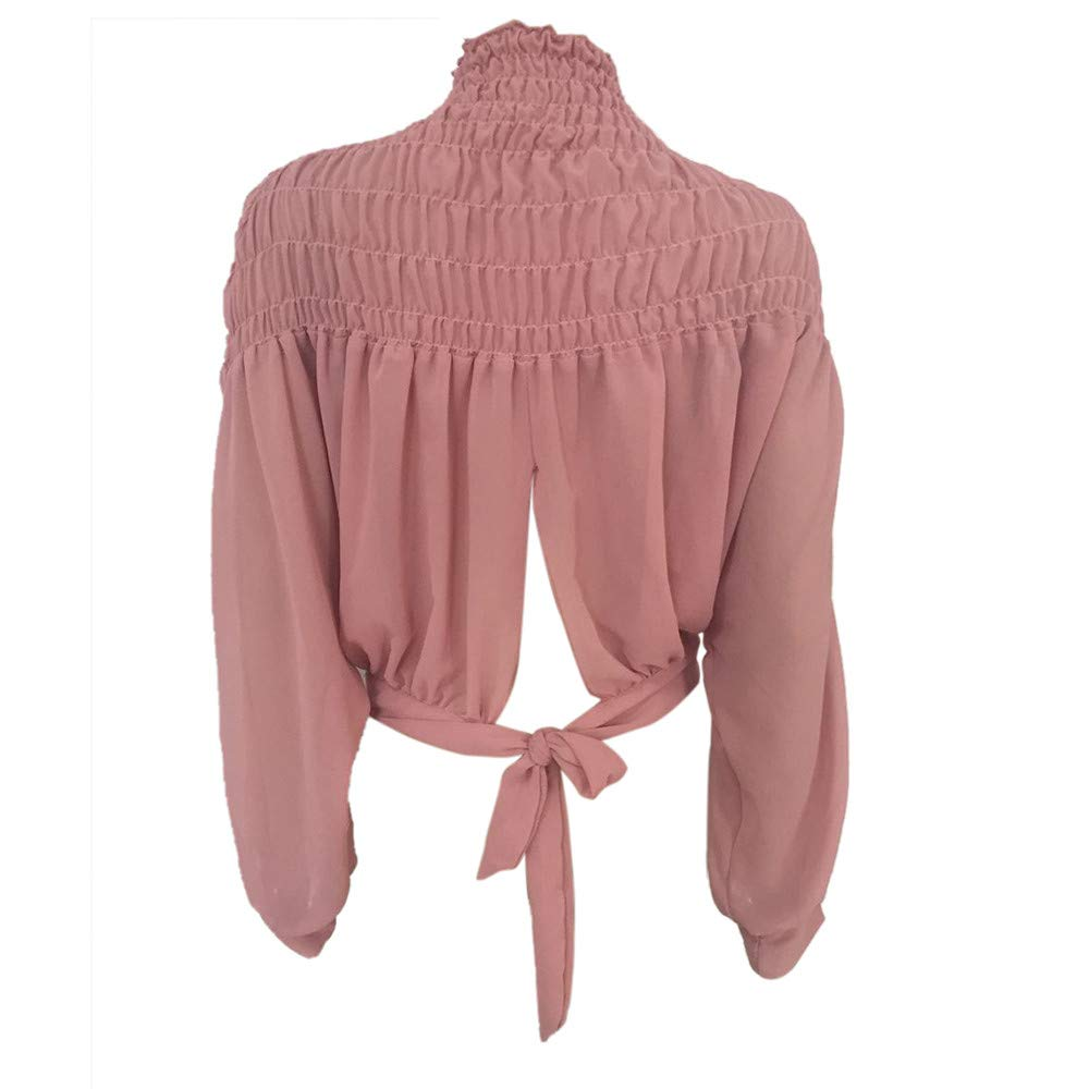 Blouse For Women-Clearance Sale, Farjing Fashion Solid Blouse Turtleneck Ruched Lantern Long Sleeve Shirt Loose Top(US:8/L,Pink ) by Farjing (Image #6)