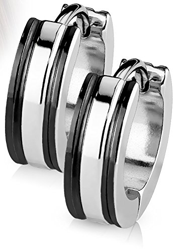 14MM Hoop Earrings Surgical Stainless Steel 2 Tone Hinged Hoop Earrings with Coffee IP Edges Rhodium Plated Earrings For Men Women Huggie Hypoallergenic Hoop Earrings (Black) (Tone Half Hoop Two)