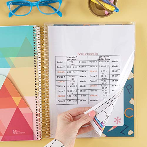 Erin Condren 12 - Month 2020 Teacher Lesson Planner 8.5x11 (January - December 2020) - Alphabet (Steel Blue) with List of Subjects Organized Daily, Student Name List with Checklist, and More