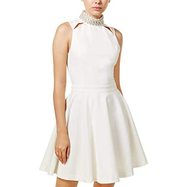 5344c700bdd Amazon.com  XOXO Womens Juniors Party Sleeveless Cocktail Dress White XL   Clothing