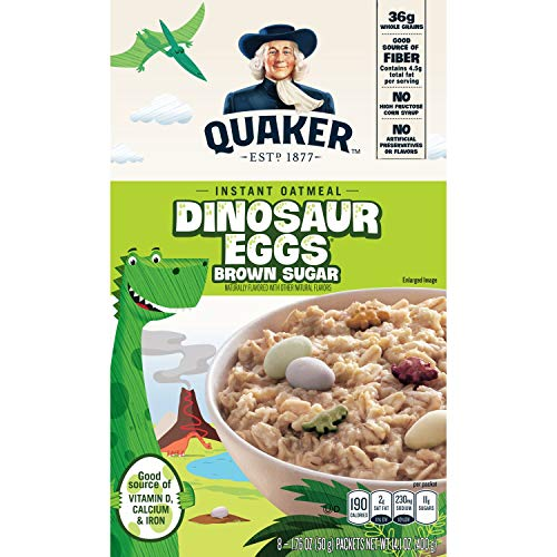 Quaker Instant Oatmeal, Dinosaur Eggs and Brown Sugar, Breakfast Cereal, 8 ()