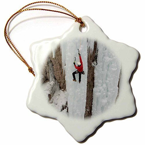 Angel Ornaments Danita Delimont - Sport - Ice climber ascending at Ouray Ice Park, Colorado - inch Snowflake Porcelain (Ice Climbers Halloween)