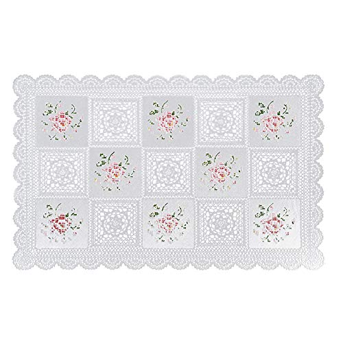 Seneca Vinyl Lace Placemats White (6 Pack) Rectangular 12 X 18 Inches - Washable Elegant Place Mats for Dining Table or Restaurant - Waterproof Decorative Table Protection | Easy to Care and Reusable ()
