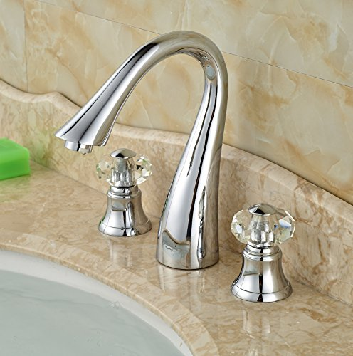 Superbe Rozin Double Crystal Knobs Bathroom Sink Faucet Widespread 3 Holes Tap  Brushed Nickel