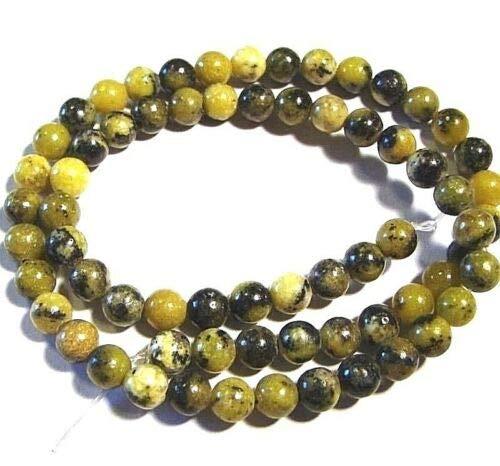 GR193 Yellow Turquoise 6mm Round Serpentine & Quartz Gemstone Beads 16'' Crafting Key Chain Bracelet Necklace Jewelry Accessories Pendants