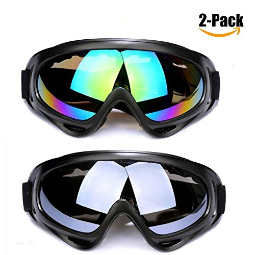 Ski Goggles,2 Pack Skate Glasses with UV 400 Protection Windproof and Dustproof for Kids,Boys&Girls,Youth,Men&Women,Anti-Glare Lenses for Riding Motorcycle Bikes Skiing (Grey and Multicolor) (Years 10 Old Tawny)