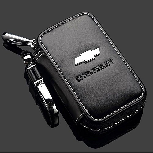 shang-meding-black-premium-leather-car-key-chain-coin-holder-zipper-case-remote-wallet-bag-chevrolet