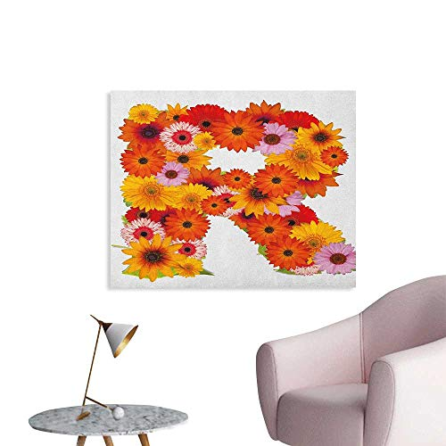(Anzhutwelve Letter R Wallpaper Gerbera Daisies Abloom in R Symbol Shape Summer Time Flowers Spring Bouquet Print The Office Poster Multicolor W28 xL20)