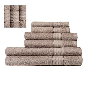 Superior %100 Cotton Turkish Towel Set 6 Piece ,2 Bath Towels, 2 Hand Towels and 2 Washcloths - Machine Washable, Hotel Quality, Super Soft and Highly Absorbent by IXIRHOME (BEIGE 450GR)