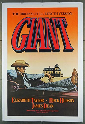 Giant (1956) Original Kino International 1982 One-Sheet Re-release Movie Poster JAMES DEAN ROCK HUDSON ELIZABETH TAYLOR Film directed by GEORGE STEVENS