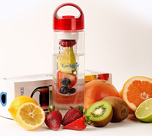 Infuser Water Bottle By Lavangie™ - 24 Ounce Shatter Proof BPA Free Tritan Plastic - Make Your Own Flavored & Fruit Infused Water, Ice Tea Juice & Other Beverages - Nontoxic, Shatterproof Plastic with Integrated Carrying Handle (How Do You Infuse Tea)