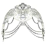 Coxeer Masquerade Mask Metal Venetian Mask Halloween Mardi Gras Mask Christmas Wedding Party Mask (Silver)