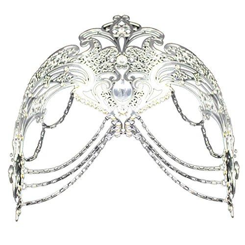 Coxeer Masquerade Mask Metal Venetian Mask Halloween Mardi Gras Mask Christmas Wedding Party Mask (Silver)