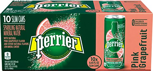 PERRIER Pink Grapefruit Flavored Sparkling Mineral Water,  8.45-Ounce Slim Cans (Pack of 10)