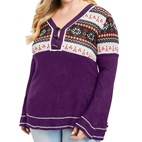 Women,Women's Plus Size Long Sleeve V-Neck Print Tunic Sweater Horn Buckle Loose Knitted Top Blouse Purple ()