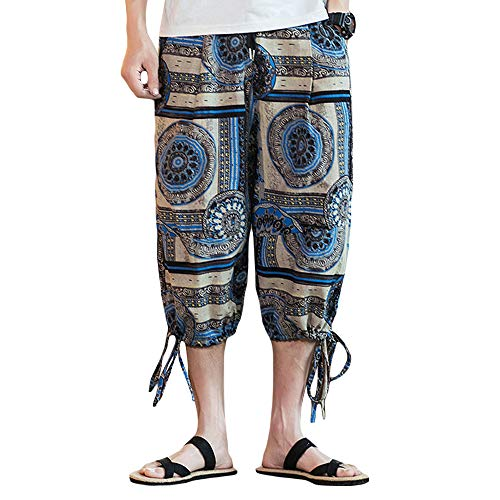 INVACHI Men's Elastic Waist Floral Printed Pattern Wide Leg Cotton Harem Baggy Pants Patchwork Linen Capri Trousers