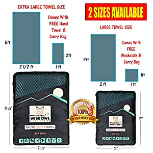 Camping Towel by Wise Owl Outfitters - Ultra Soft Compact Quick Dry Microfiber - Great for Fitness, Hiking, Yoga, Travel, Sports, Backpacking & The Gym - Free Bonus Hand Towel 30x60 MB
