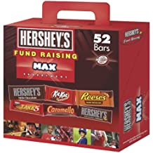 Hershey Fund Raising Max Assortment, HERSHEY'S Milk Chocolate, HERSHEY'S Milk Chocolate with Almonds, KIT KAT Wafer Bar, REESE'S Peanut Butter Cups, TAKE 5 Bar, and CARAMELLO Bar, 52 Count Box