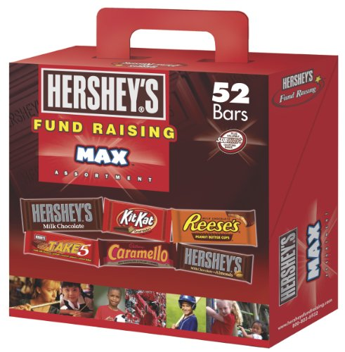 Hershey Fund Raising Max Assortment, HERSHEY'S Milk Chocolate, HERSHEY'S Milk Chocolate with Almonds, KIT KAT Wafer Bar, REESE'S Peanut Butter Cups, TAKE 5 Bar, and CARAMELLO Bar, 52 Count Box Reason Candy Bar