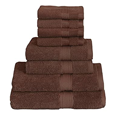 8 Piece Towel Set (Brown); 2 Bath Towels, 2 Hand Towels & 4 Washcloths - Cotton By Utopia Towels