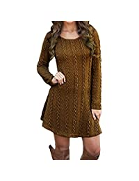 Women Cowl Neck Knit Stretchable Long Sleeve Slim Fit Sweater Dress