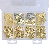 Assorted Picture Hanging Kit | 220 Piece Assortment with Wire, Picture Hangers, Hooks, Nails and Hardware for Frames