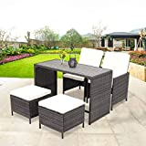 Wooden Patio Set Wisteria Lane Outdoor Patio Bar Stool Set,5 Piece Dining Table Set Wooden Table Chairs Sectional Furniture Conversation Set Cushioned Garden Lawn Bar Furniture,Grey