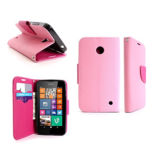 Nokia Lumia 635 Wallet Phone Case and Screen Protector | CoverON (CarryAll) Pouch Series | Tough Textured Exterior (Light Pink / Hot Pink) Flip Stand Cover with Credit Card and Cash Holder Slots for Nokia Lumia 635 (Cute Cases For Nokia Lumia)