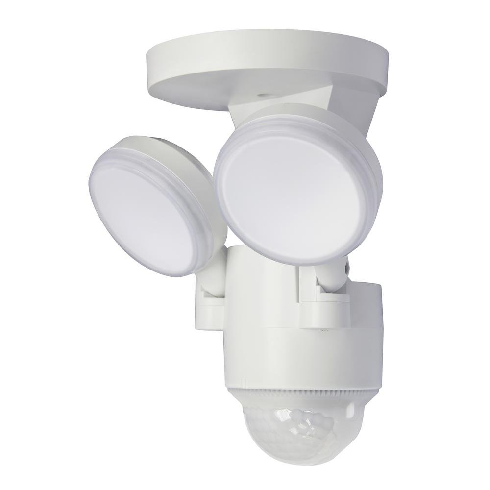 LP-1803-WH 180-Degree White Motion Activated Outdoor Integrated LED Flood Lights with 1100 Lumens (White) by FLI Products