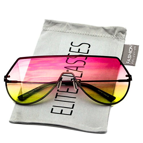 Elite Oversize Unisex Flat Top Aviator Retro Shield Mirrored Lens Rimless Sunglasses (Red Ombre, 5.8) (Pink-Yellow, - Sunglasses Oversized Aviator Mirrored