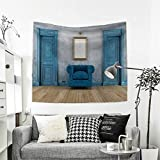 RuppertTextile Antique Tapestry Wall Tapestry Empty Room with Two Doors Armchair and Simple Mirror with Golden Color Frame Art Wall Decor 39W x 39L Inch Blue Sand Brown
