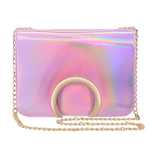 Novias Boutique - Bolso cruzados para mujer plateado plata talla única rosa