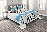 Lunarable Cabin Bedspread Set Queen Size, Life is Better at The Lake Wooden Pier Plants Mountains Sketch Art, Decorative Quilted 3 Piece Coverlet Set with 2 Pillow Shams, Charcoal Grey
