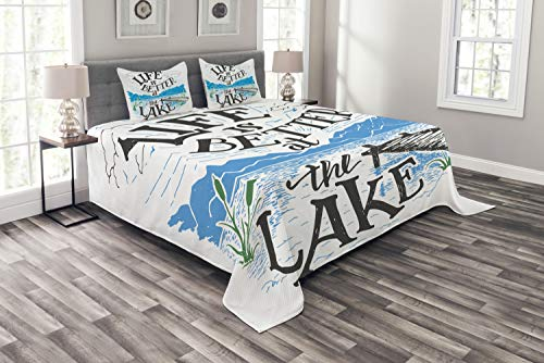 Lunarable Cabin Bedspread Set King Size, Life is Better at The Lake Wooden Pier Plants Mountains Sketch Art, Decorative Quilted 3 Piece Coverlet Set with 2 Pillow Shams, Blue Jade Green Charcoal Grey
