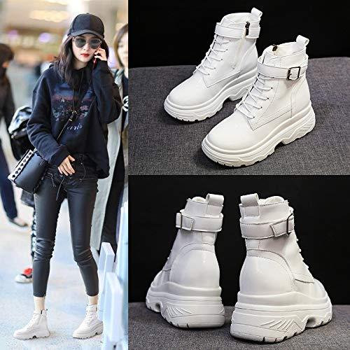 De Blanco Mujer Planas Cuero Martin Botas Correas Otoño Phy Brillante Cruzadas Shoe Mayores 7gq4t4