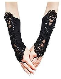 JISEN Women Banquet Party Fingerless Elegant Lace Embroidered Bridal Gloves 11 Inch Black