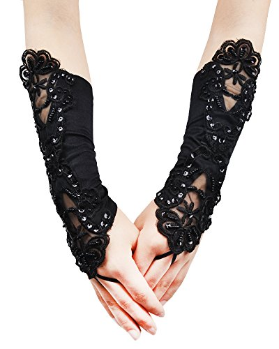 [JISEN Women Banquet Party Fingerless Elegant Lace Embroidered Bridal Gloves 11 Inch Black] (Steampunk Accessories For Women)