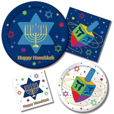 Hanukkah Festivities Party Supply Bundle for 16 Guests - Includes Plates and Napkins -